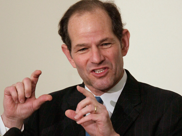 FILE - This Nov. 12, 2009 file photo shows former New York Gov. Eliot Spitzer addressing an audience during a Harvard University ethics forum on the school´s campus in Cambridge, Mass. Spitzer, who stepped down in 2008 over a prostitution scandal, is planning a return to political life with a run for New York City comptroller. (AP Photo/Steven Senne, file)