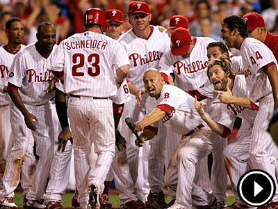 Phillies catcher Brian Schneider hit the game-winning home run in the 12th inning against the Reds Thursday. (David Swanson / Staff Photographer)