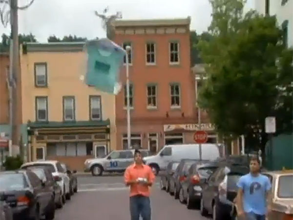A screen grab from NBC10´s video of the dry cleaning drone in action.