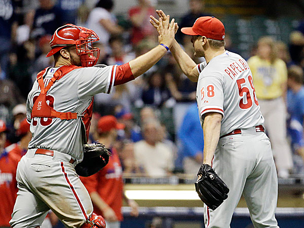 Phillies closer Jonathan Papelbon and catcher Cameron Rupp. (Morry Gash/AP)
