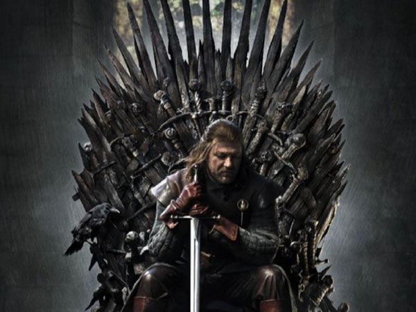 A 2011 promotional poster of Ned Stark seated on the Iron Throne.