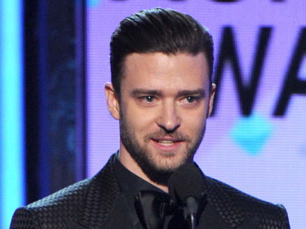 Justin Timberlake speaks on stage at the BET Awards at the Nokia Theatre on Sunday, June 30, 2013, in Los Angeles. (Photo by Frank Micelotta/Invision/AP)