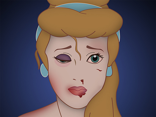 The ´Happy Never After´ poster series displays beloved Disney princesses with blackened left eyes and bruised and bloodied faces, a paradox creator Saint Hoax hopes will drive women and girls to report their attacks, no matter how long ago it was. (via sainthoax.com)