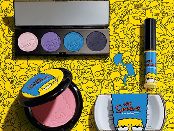 Products from the new MAC ´Simpsons´ inspired collection including an eye shadow palette and false eyelashes. (via MAC)