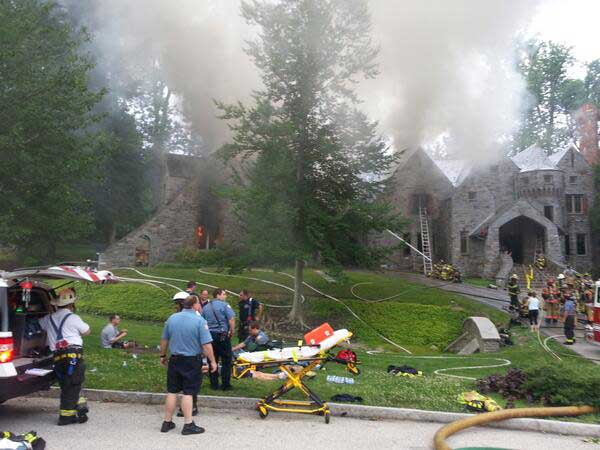 Crews respond to a fire that broke out at Radnor Township mansion on Wednesday, July 9, 2014. (Photo from Twitter user @RADNORTOWNSHIP)