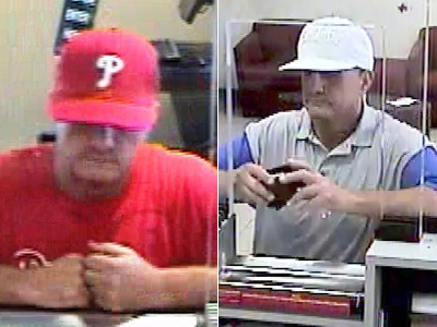 This same suspect robbed two banks in two hours Monday afternoon. (Surveillance photos)