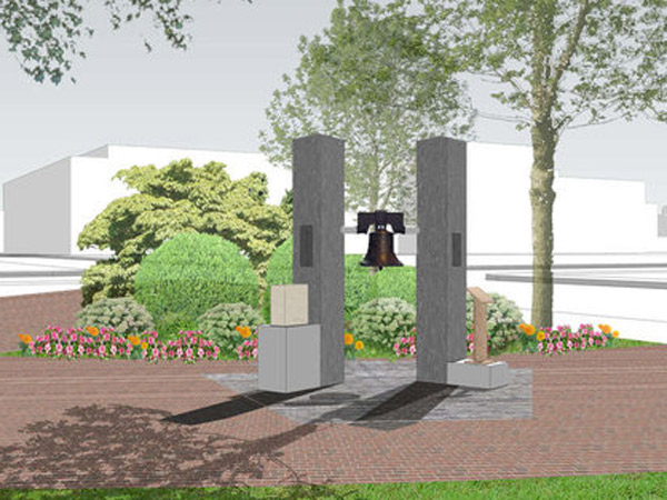 The 9/11 memorial, titled Mending Liberty, is the brainchild of Steve Saymon, a local first responder to the disaster, and Jeffrey Little, a contractor and the designer of the work, which is planned to be near the main entrance of Franklin Square.