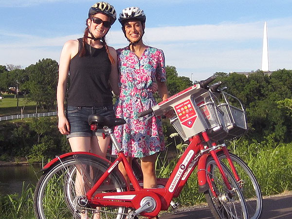 The author (right) and her best friend, Karin Elwood, exploring Nashville, Tenn., by bicycle. (Karin Elwood photo)