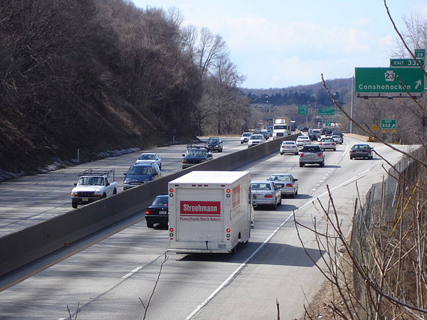 Traffic on Interstate 76, the busiest highway in Pennsylvania.