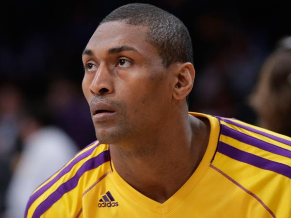 Metta World Peace looks on during practice for an NBA basketball game against the Houston Rockets in Los Angeles, Wednesday, April 17, 2013. (Jae C. Hong/AP file)