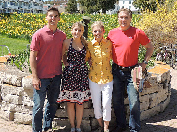 The Griffith family on Mackinac Island, Mich.: (from left) son Grant, daughter Greer, wife Annette, and husband Robert. It was their 50th state and they had lots to celebrate.