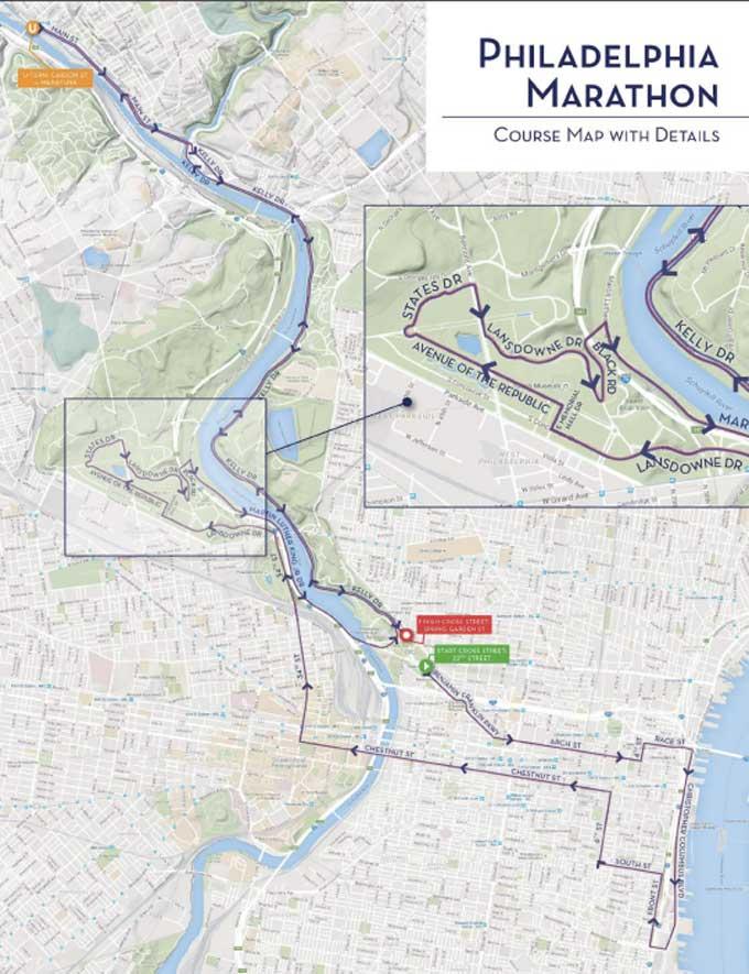 philadelphia marathon course map Your Guide To Philadelphia Marathon Weekend philadelphia marathon course map