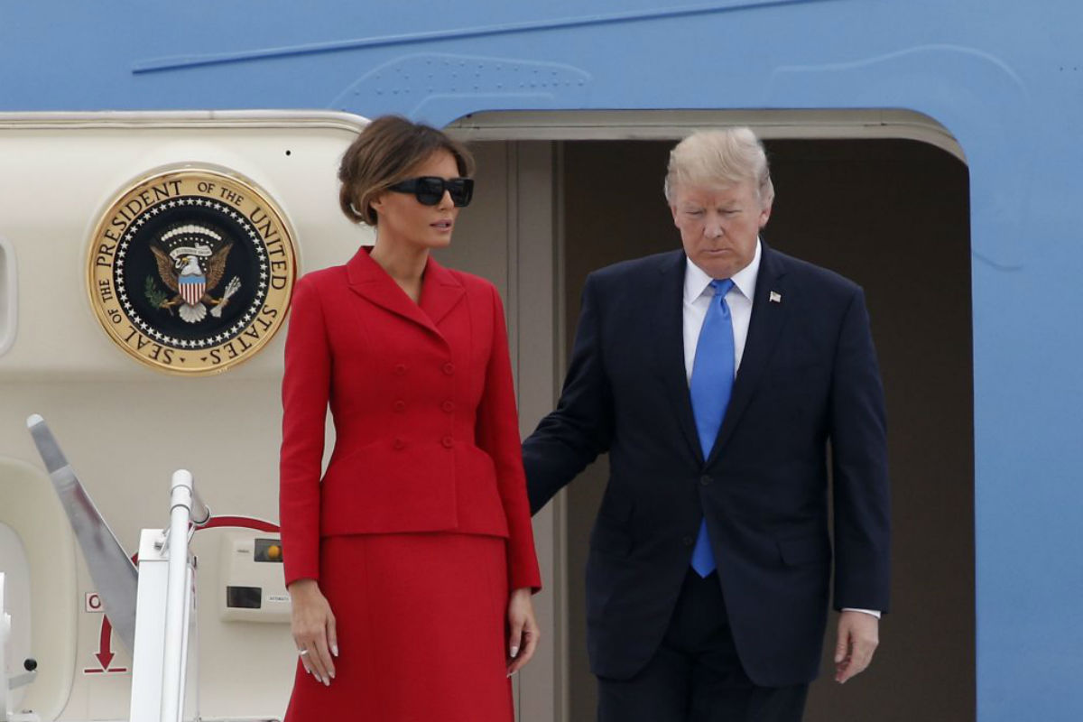 U.S President Donald Trump and First Lady Melania arrive at Orly airport, south of Paris.