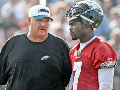 Quarterback Michael Vick has not had a chance to work with Andy Reid this offseason. (Steven M. Falk/Staff file photo)
