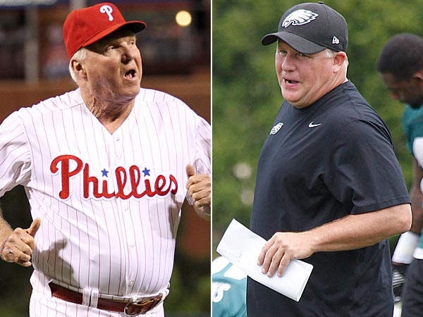 Phillies manager Charlie Manuel (left) and Eagles head coach Chip Kelly (right). (Yong Kim/Akira Suwa/Staff Photos)