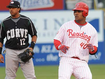 Phillies prospect Michael Taylor, right, has been placed on the DL with a strained oblique. (Photo by Ralph Trout)