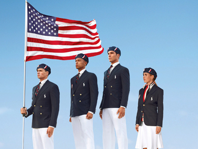 This image released by Ralph Lauren shows U.S. Olympic athletes, from left, swimmer Ryan Lochte, decathlete Bryan Clay, rower Giuseppe Lanzone and soccer player Heather Mitts modeling official Team USA Opening Ceremony Parade Uniform. (AP Photo/Ralph Lauren, File)