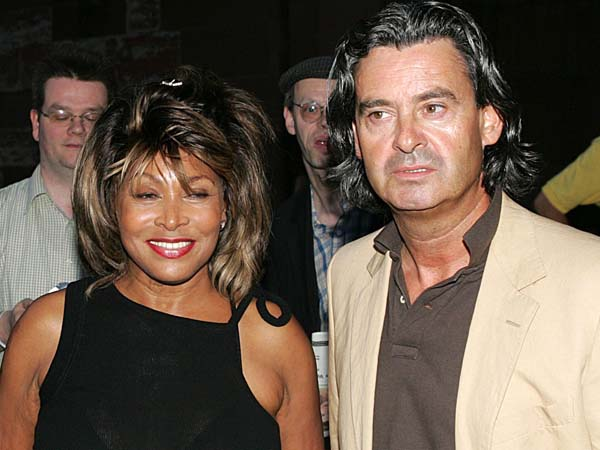 Swiss film producer Arthur Cohn, US singer Tina Turner and her partner Erwin Bach, from left, are seen at the Arthur Cohn Gala in Basel, Switzerland, Thursday, July 28, 2005.  (AP Photo/KEYSTONE/Patrick Straub)