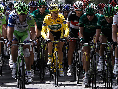 Overall leader Thomas Voeckler of France rides in the pack during the 15th stage of the Tour de France. (AP Photo/Laurent Cipriani)