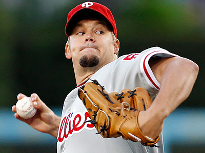 Joe Blanton delivered eight solid innings, allowing two runs on six hits and striking out seven batters. (Danny Moloshok/AP)