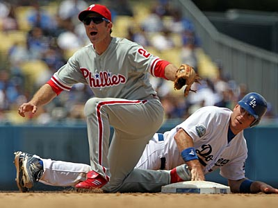 The Phillies failed to complete a three-game sweep of the Dodgers in Los Angeles. (Reed Saxon/AP)