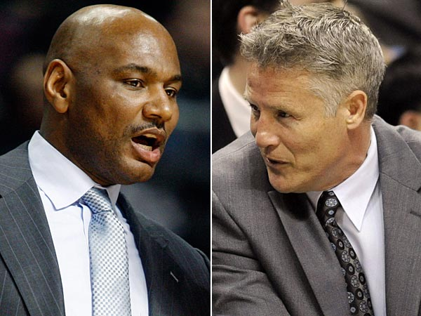 Sixers assistant coach Michael Curry (left) and Spurs assistant coach Brett Brown (right). (AP file photos)