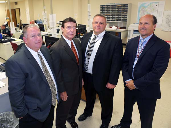 Left to right, Detectives Bob Chew, Marty Devlin, Shawn Donlon and Joseph Forte at the Camden County Police Headquarters in Camden, NJ on Thursday, July 10, 2014. (Stephanie Aaronson/Philly.com)