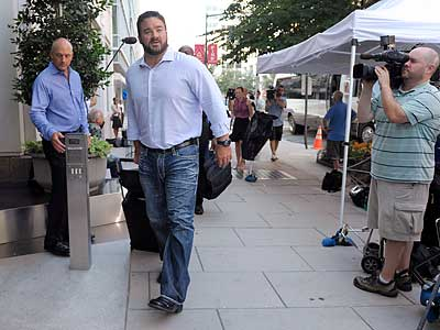 Colts center Jeff Saturday arrives at NFLPA offices in Washington. (Susan Walsh/AP)