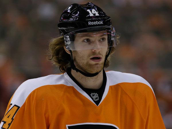 Sean Couturier in action during an NHL hockey game against the Florida Panthers, Thursday, Feb. 7, 2013, in Philadelphia. (Matt Slocum/AP file)