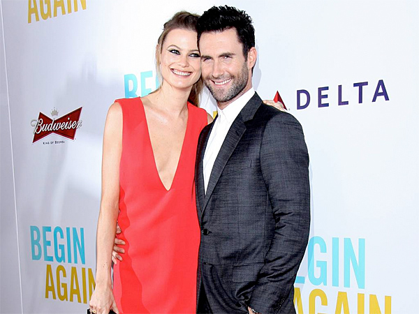 Behati Prinsloo and Adam Levine at the New York premiere of Begin Again at the SVA Theatre.