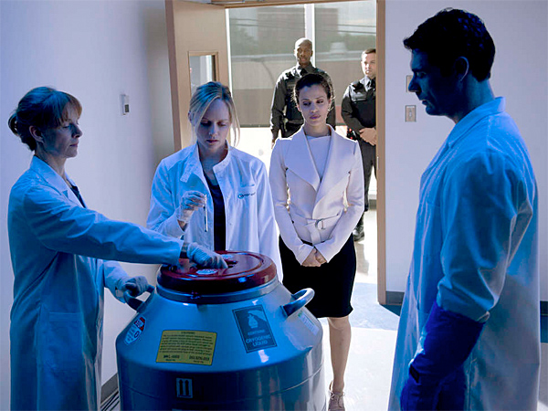"Marley Shelton (center) portrays a scientist who makes a research breakthrough in the new 10-part drama series ""The Lottery,"" Sundays on Lifetime. (Phillipe Bosse)"