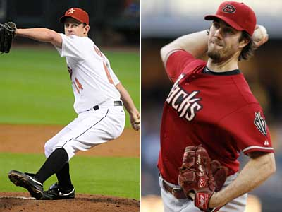 Should the Phillies make a move for Houston´s Roy Oswalt (left) or Arizona´s Dan Haren? (AP Photos)