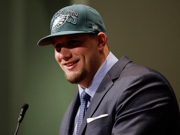 The Eagles drafted Lane Johnson with the fourth overall pick in the 2013 NFL Draft. (Matt Slocum/AP file)