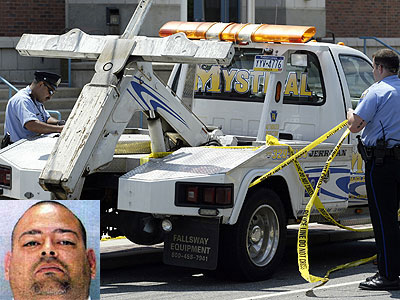 J & Son´s worker Jose LaTorre Jr. (inset) is accused of shooting a rival driver for Mystical towing.
