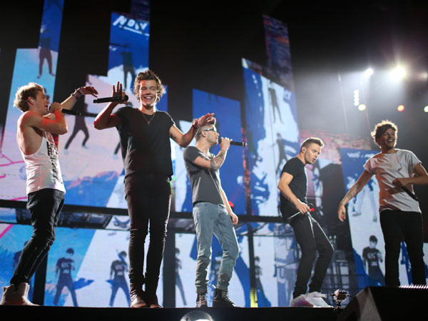 British boy-band One Direction performs at the Target Center in Minneapolis Thursday night, July 18, 2013. (AP Photo/Star Tribune, Jeff Wheeler)