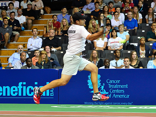 Andy Roddick visited the Pavilion at Villanova University on Monday to play World TeamTennis with the Austin Aces against the Philadelphia Freedoms. (C.F. Sanchez/Staff Photographer)