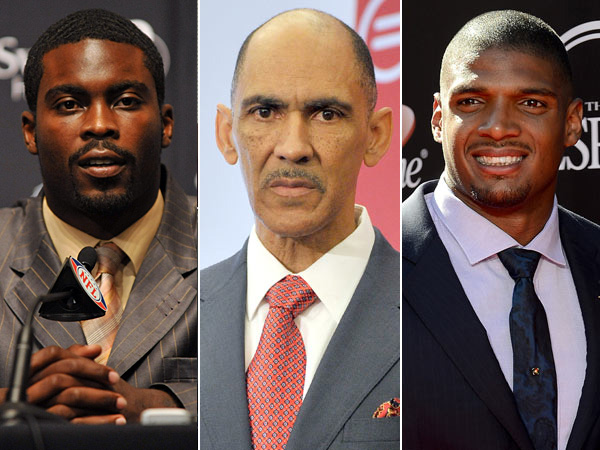 From left to right: Jets quarterback Michael Vick, former NFL head coach Tony Dungy and Rams defensive end Michael Sam.