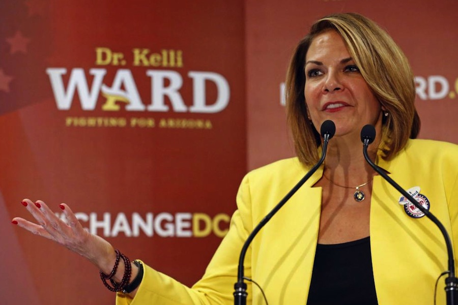 FILE - In this Aug. 30, 2016, file photo, Kelli Ward concedes to Sen. John McCain, R-Ariz., in Scottsdale, Ariz.