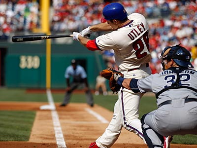 Chase Utley hit two home runs for a total of four RBI against the Padres on Saturday afternoon. (Matt Slocum/AP)