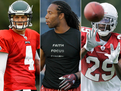 Has Larry Fitzgerald (center) had an impact on a potential deal involving Kolb (left) and Rodgers-Cromartie? (AP Photos)