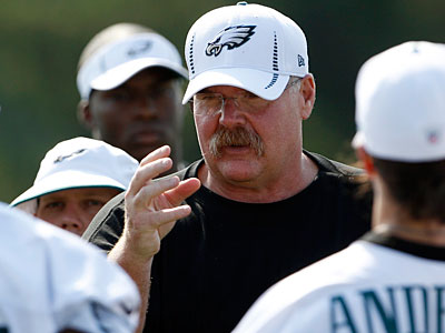 Following Monday afternoon´s practice, Andy Reid scaled the hill at Lehigh. (Yong Kim/Staff Photographer)