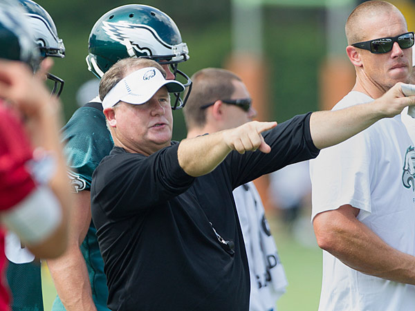 Eagles head coach Chip Kelly gives direction at Tuesday´s workout. (Ed Hille/Staff Photographer)