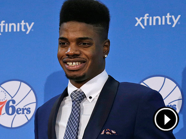 Philadelphia 76ers newly acquired rookie Nerlens Noel poses for<br />photographs at the team&acute;s NBA basketball training facility, Tuesday,<br />July 23, 2013, in Philadelphia. (AP Photo/Matt Rourke)