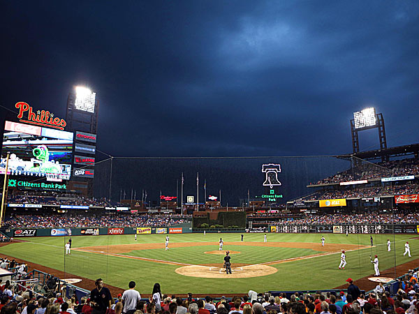 Storm clouds roll in during the third inning a game between the Phillies and the Giants at Citizens Bank Park. (Bill Streicher-USA TODAY Sports)