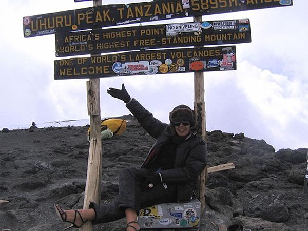 Rima looking flawless and in style on top of Mount Kilimanjaro. (Rima Suqi/via Fathom.com)