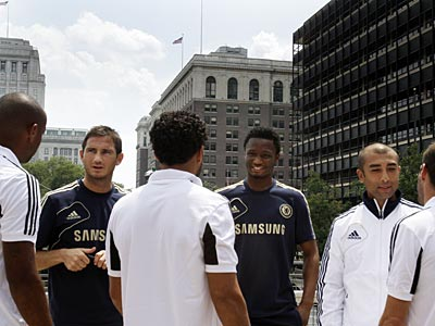 MLS All-Star and Chelsea FC players chat at the Independence Visitor Center on Tuesday. (Brynn Anderson/AP)