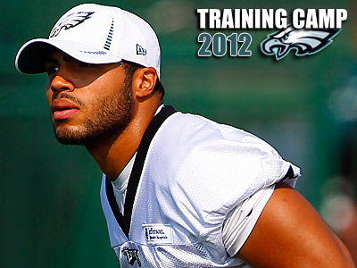 Philadelphia Eagles rookie linebacker Mychal Kendricks runs a drill. (AP Photo/Rich Schultz)