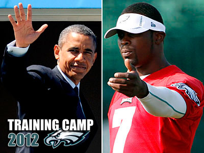 "President Obama had some key advice for Eagles quarterback Michael Vick: ""slide."" (Staff and AP photos)"