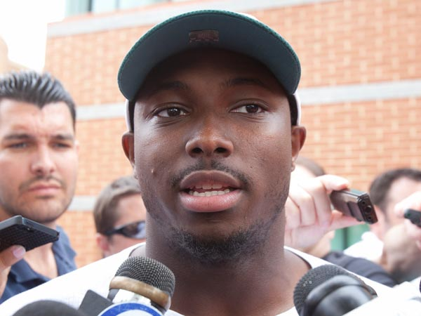 LeSean McCoy being interviewed by reporters on July 25, 2013. (Ed Hille/Staff Photographer)