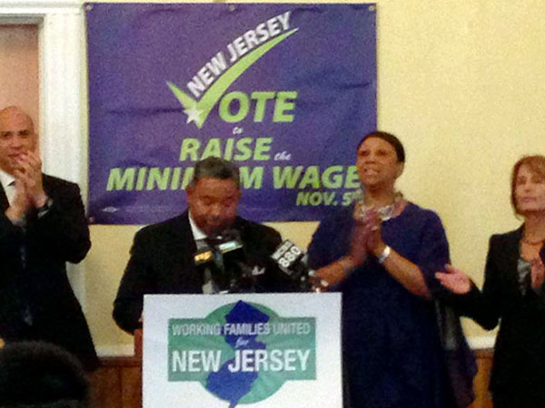 From left, Newark Mayor Cory Booker, Working Families United New Jersey Chair Charles N. Hall Jr. state Assembly Speaker Sheila Oliver (D-Essex) and state Sen. Barbara Buono (D-Middlesex) take part in a recent kickoff event held in Newark in support of raising the state´s minimum wage. (Photo from NJSpotlight.com)
